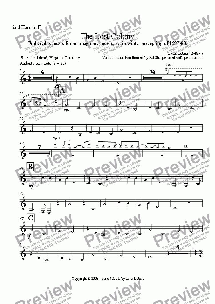 page one of the 2nd Horn in F part from The Lost Colony (orchestra)