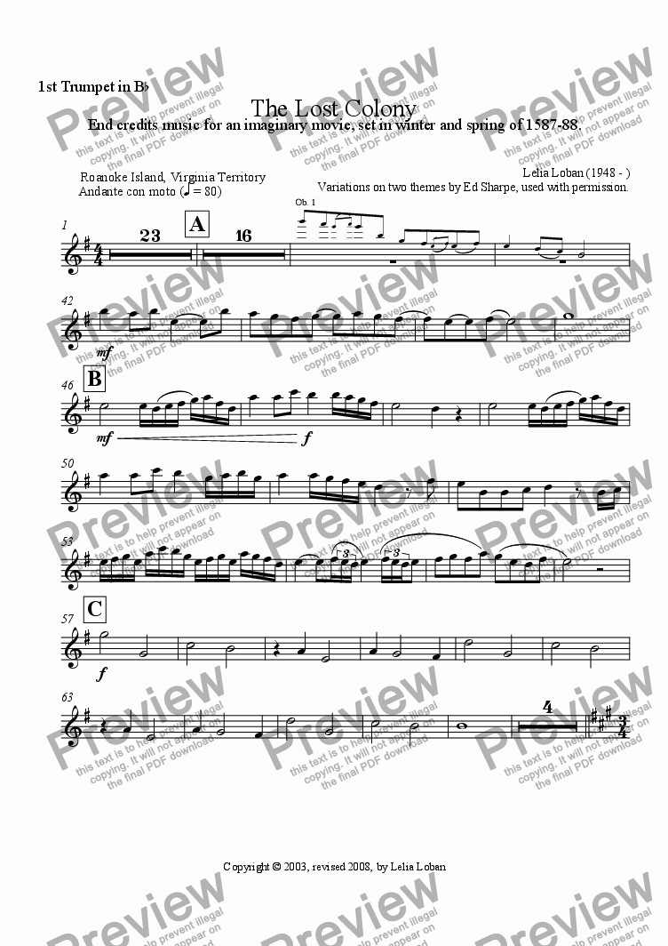 page one of the 1st Trumpet in Bb part from The Lost Colony (orchestra)