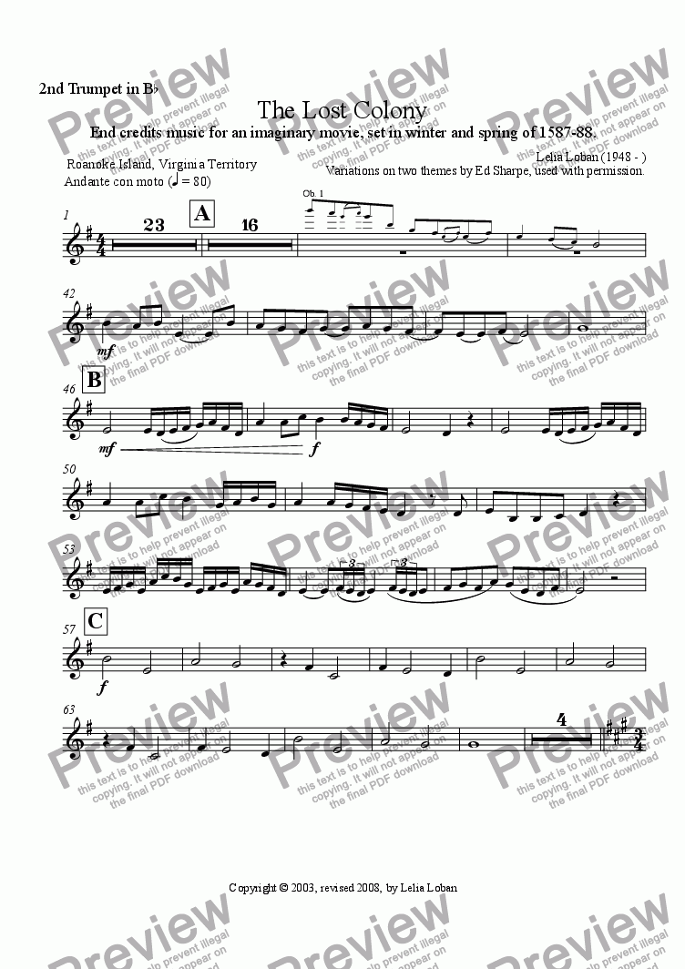 page one of the 2nd Trumpet in Bb part from The Lost Colony (orchestra)