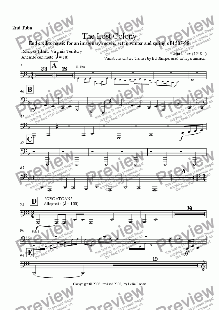 page one of the 2nd Tuba part from The Lost Colony (orchestra)