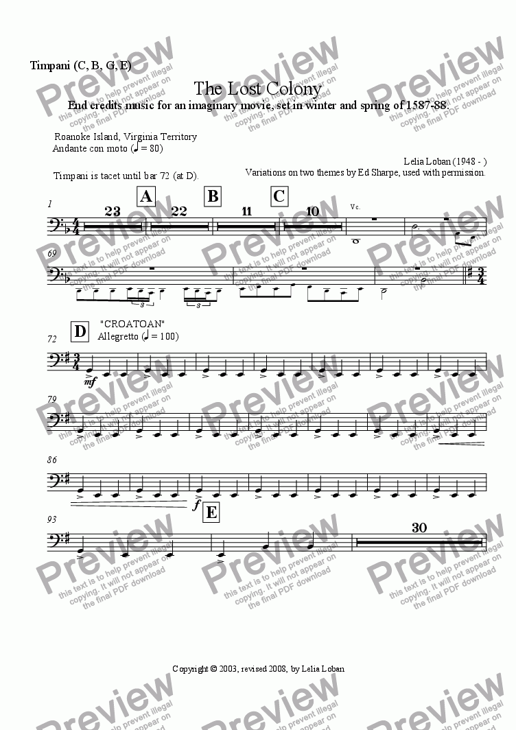 page one of the Timpani part from The Lost Colony (orchestra)