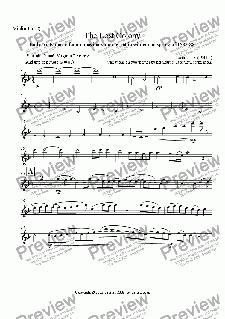 page one of the 1st Violin part from The Lost Colony (orchestra)