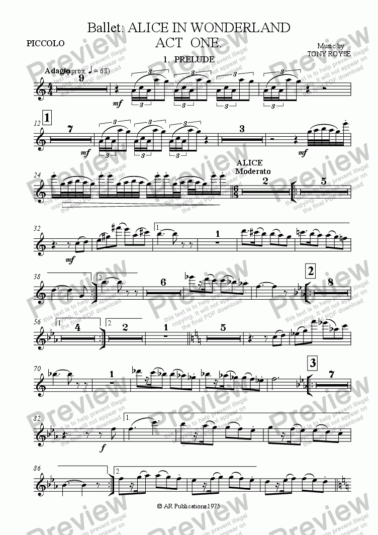 page one of the Piccolo part from Ballet: Alice In Wonderland  (Act 1 - No. 01, 02 & 03) Prelude, Alice & Rabbit Hole