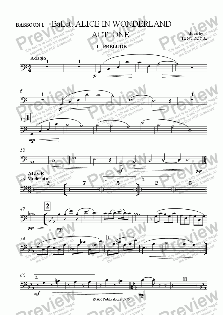 page one of the Bassoon 1 part from Ballet: Alice In Wonderland  (Act 1 - No. 01, 02 & 03) Prelude, Alice & Rabbit Hole