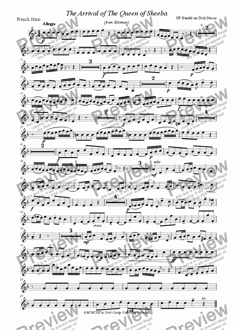 page one of the french horn part from Arrival of the Queen of Sheba