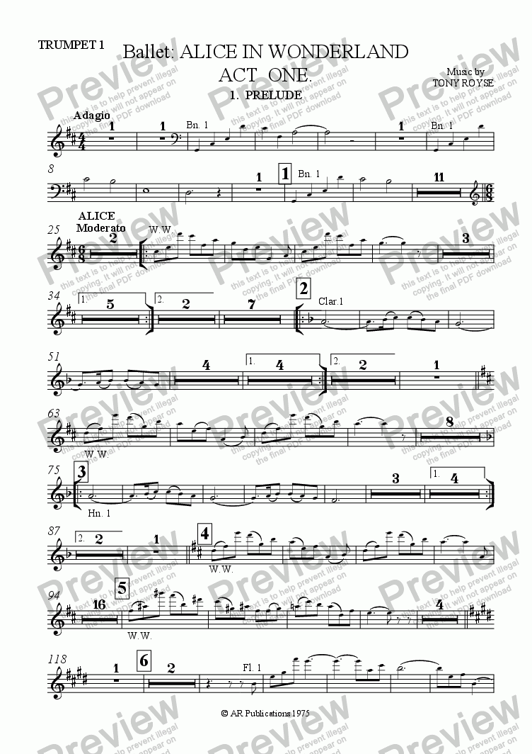 page one of the Trpt 1 part from Ballet: Alice In Wonderland  (Act 1 - No. 01, 02 & 03) Prelude, Alice & Rabbit Hole