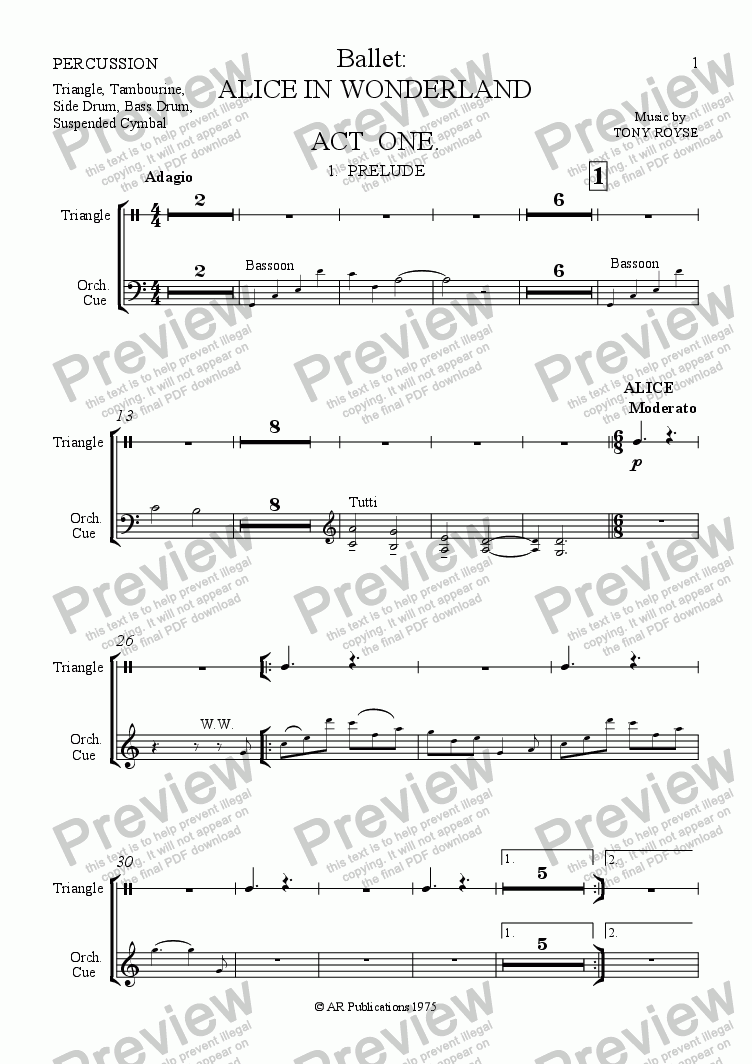 page one of the Percussion part from Ballet: Alice In Wonderland  (Act 1 - No. 01, 02 & 03) Prelude, Alice & Rabbit Hole