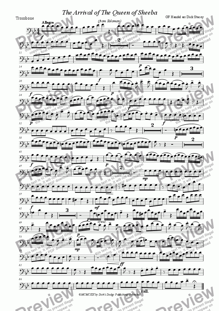 page one of the trombone part from Arrival of the Queen of Sheba