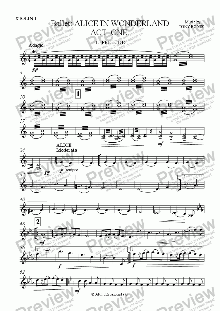 page one of the Violin 1 part from Ballet: Alice In Wonderland  (Act 1 - No. 01, 02 & 03) Prelude, Alice & Rabbit Hole