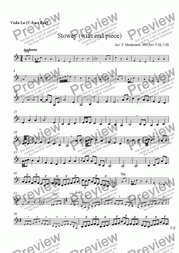 page one of the viola part for C-bass part from Stowey (with end piece)