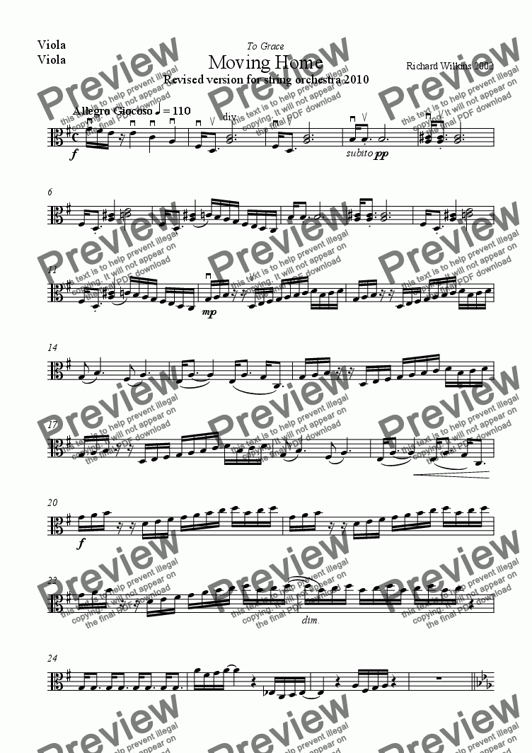 page one of the Viola part from Moving Home