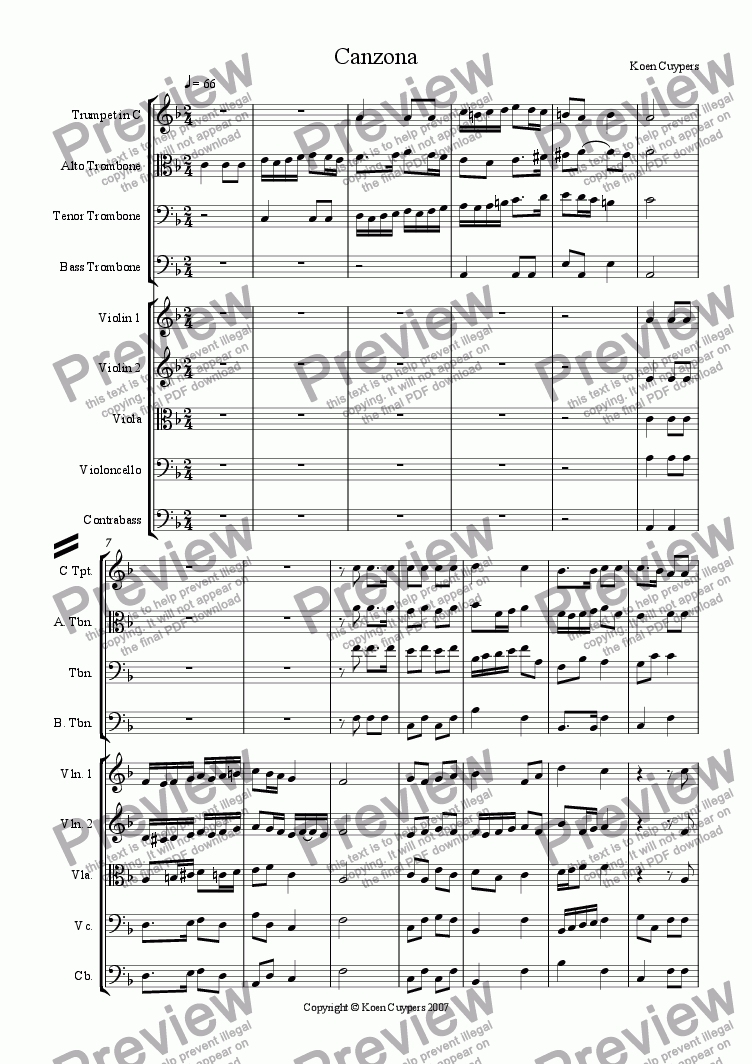 page one of the contrabass part from Canzona 1