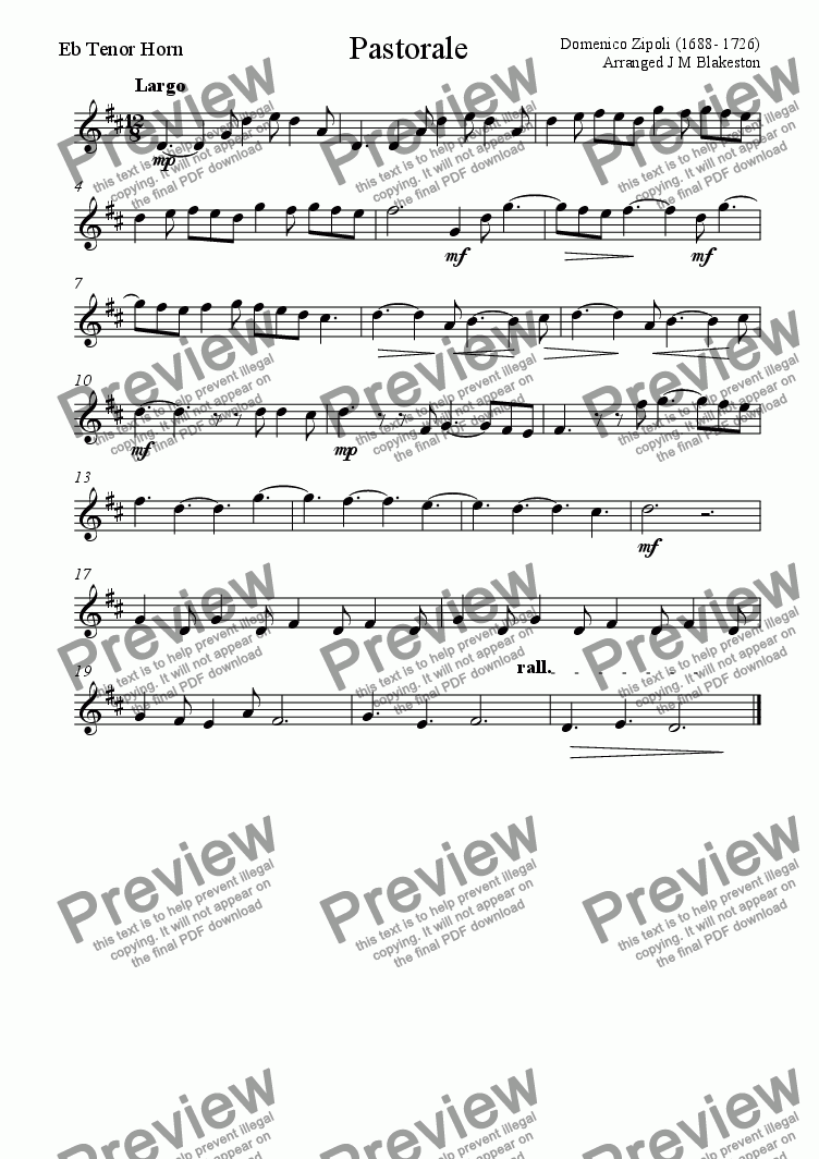 page one of the Horn part from Pastorale (easy Brass Quintet)