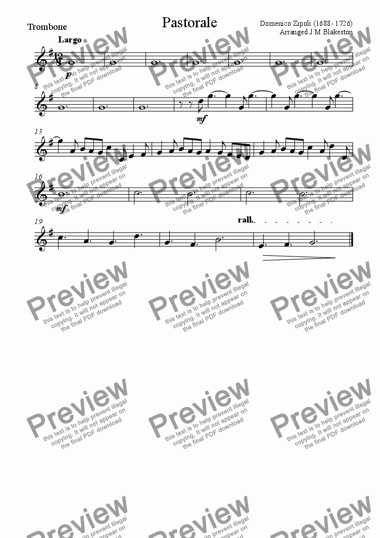 page one of the Trombone part from Pastorale (easy Brass Quintet)