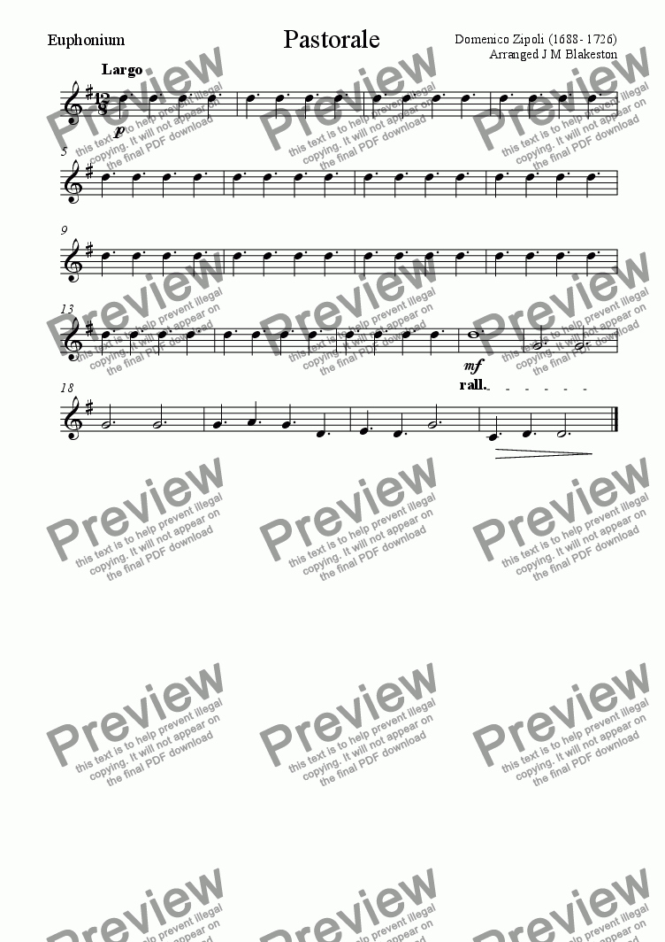 page one of the Euphonium part from Pastorale (easy Brass Quintet)