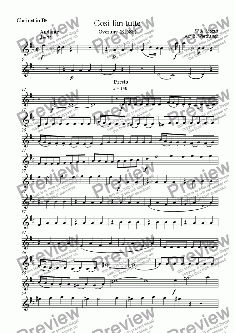page one of the Clarinet in Bb part from Cosi fan tutte: Overture