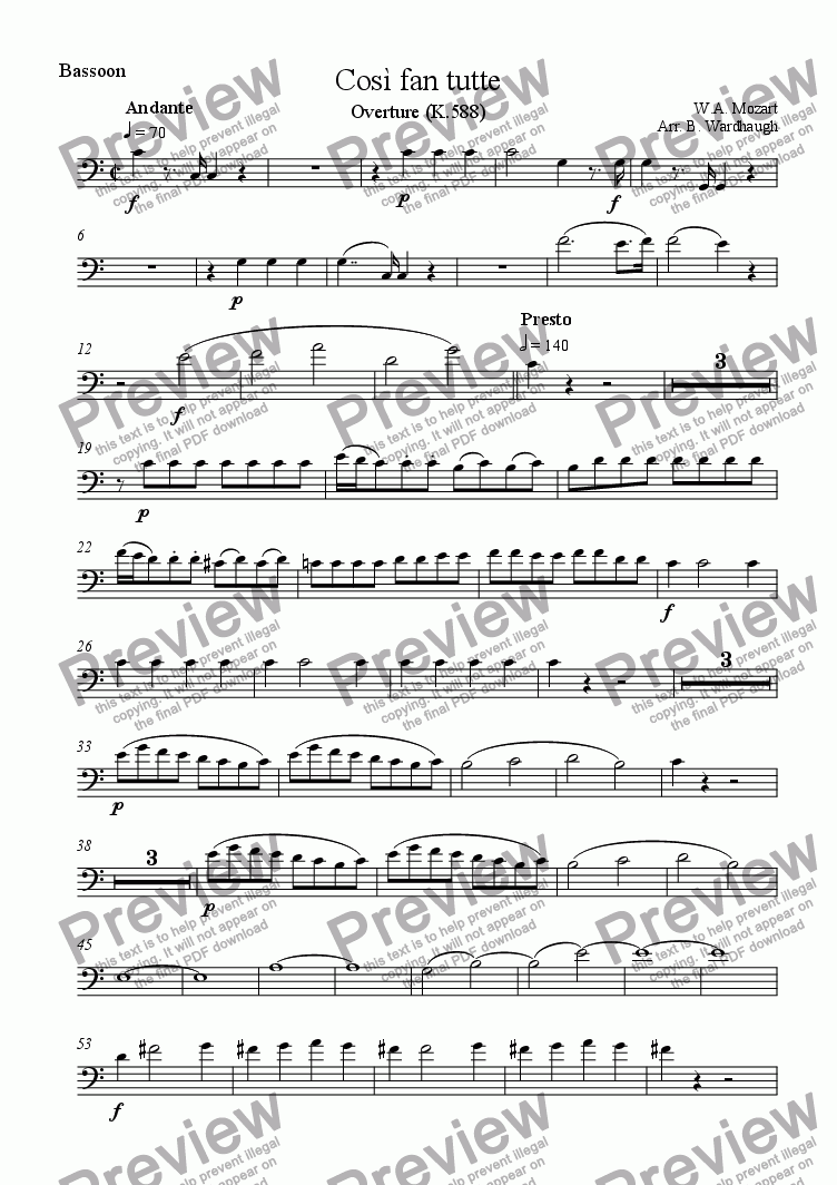 page one of the Bassoon part from Cosi fan tutte: Overture