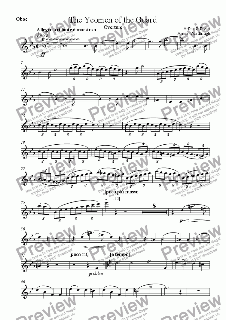 page one of the Oboe part from The Yeomen of the Guard: Overture