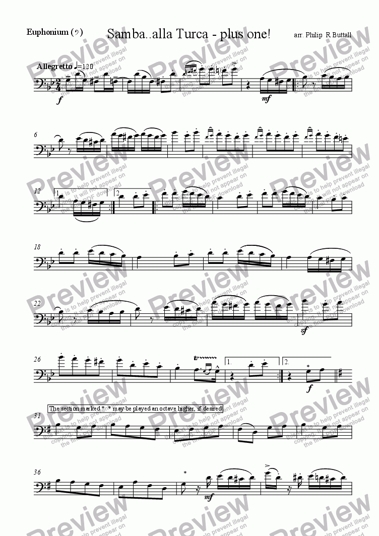 page one of the Euphonium (Bass Clef) part from Samba..alla Turca - plus one!