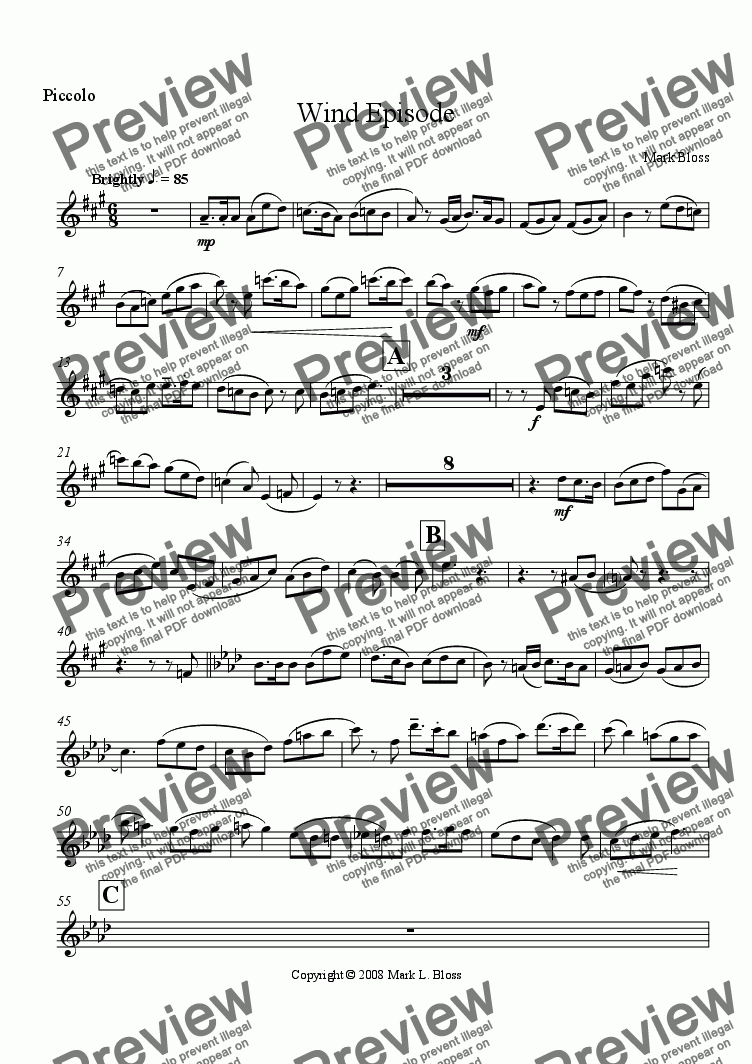 page one of the Piccolo part from Woodwind Episode No. 1