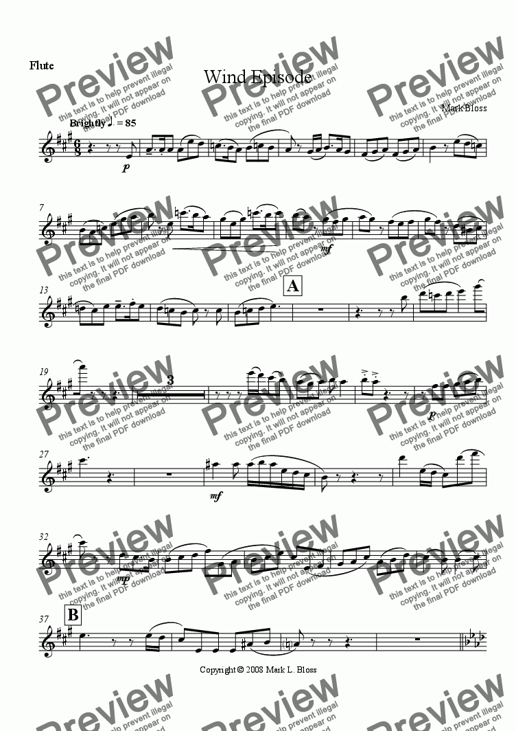 page one of the Flute part from Woodwind Episode No. 1