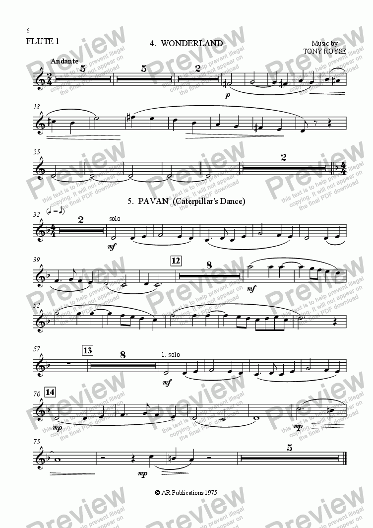 page one of the Flute 1 part from Ballet: Alice In Wonderland (Act 1 - No. 04 & 05) Wonderland & Pavan
