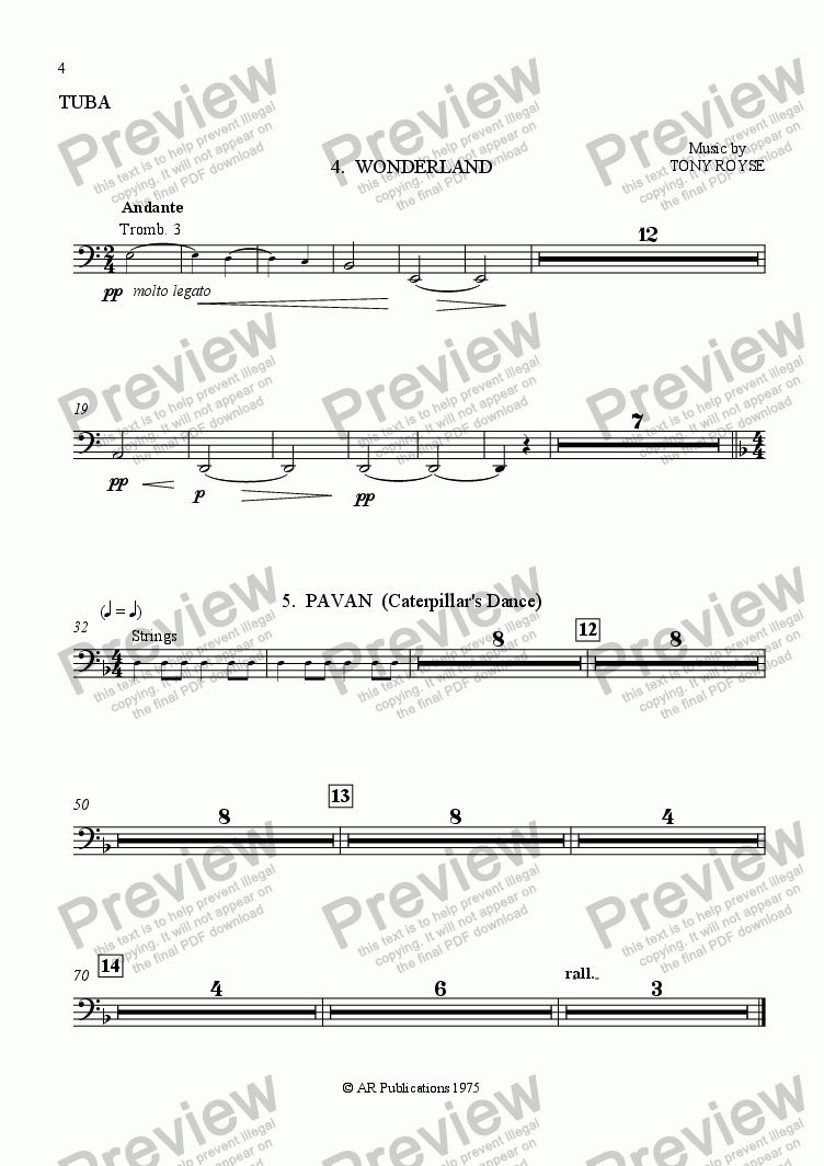 page one of the Tuba part from Ballet: Alice In Wonderland (Act 1 - No. 04 & 05) Wonderland & Pavan
