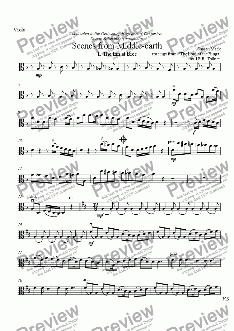 page one of the viola part from Scenes from Middle-earth