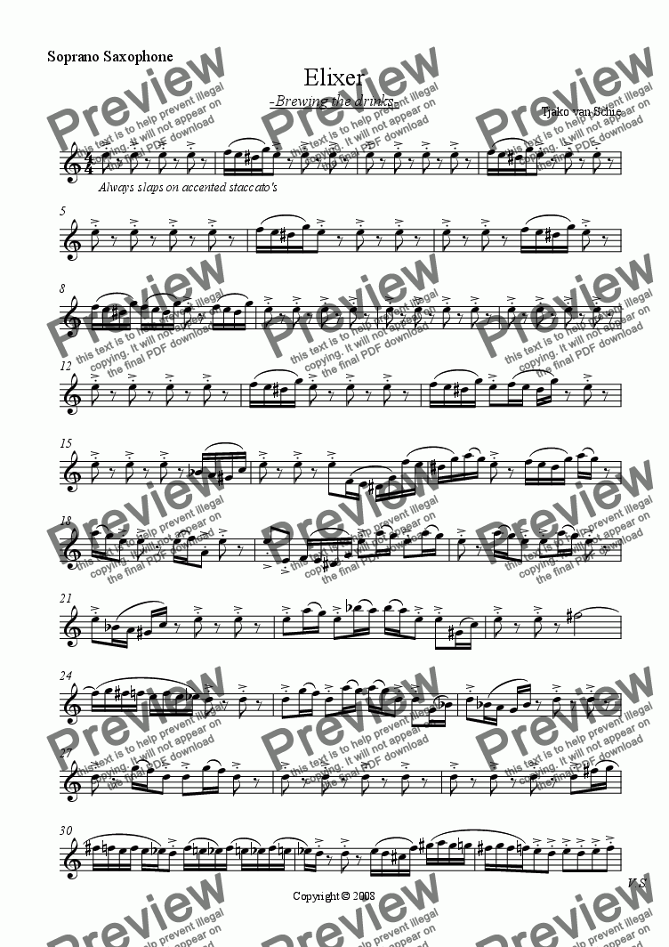 page one of the soprano saxophone part from Elixer Part 2 - for saxophone quartett & piano