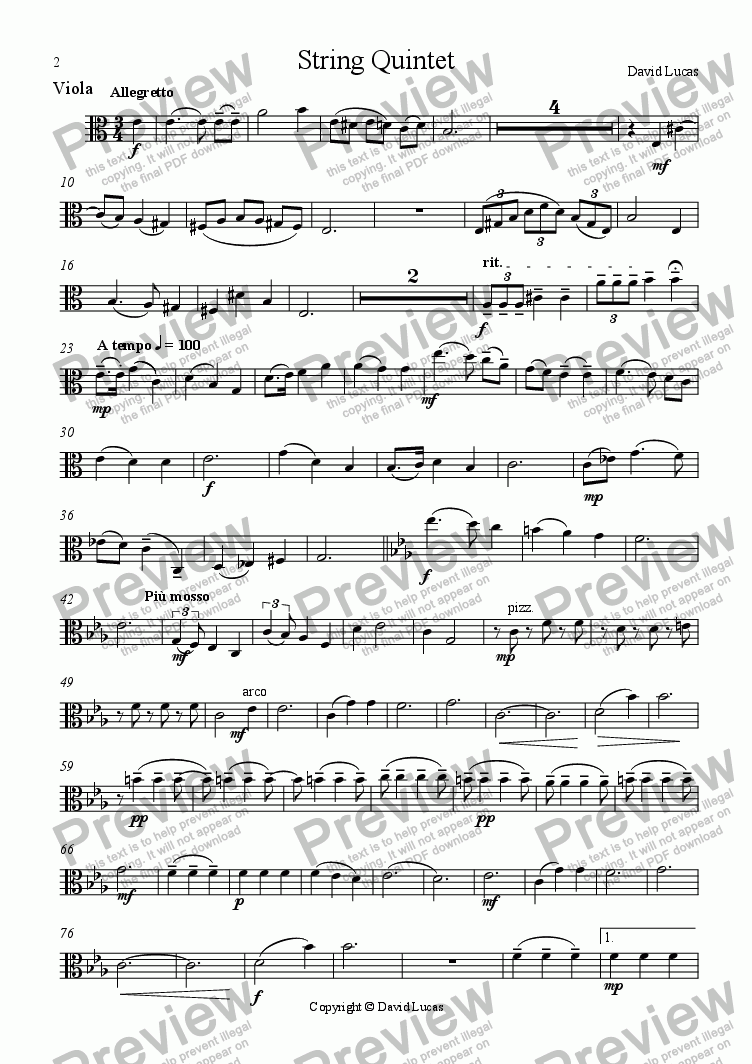 page one of the Viola part from String Quintet