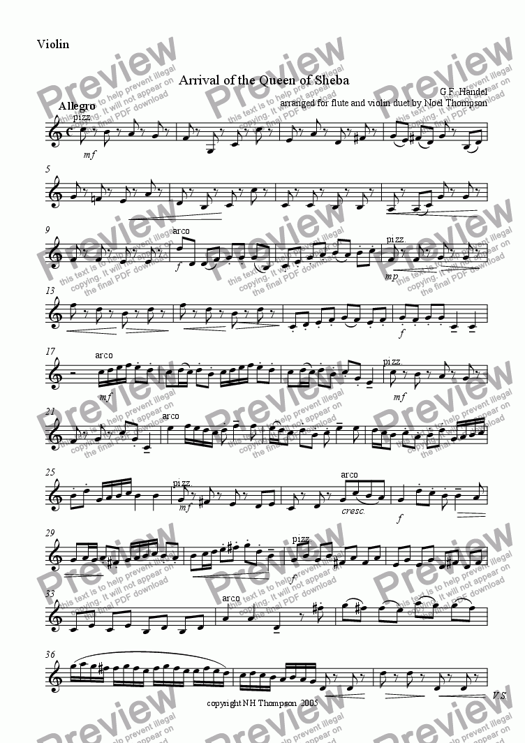 page one of the violin part from Arrival of the Queen of Sheba duet for flute and violin -revised and edited with parts