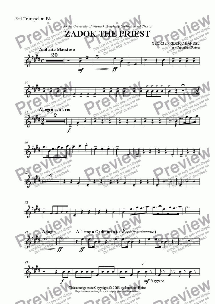 page one of the Trumpet 3 part from Zadok the Priest