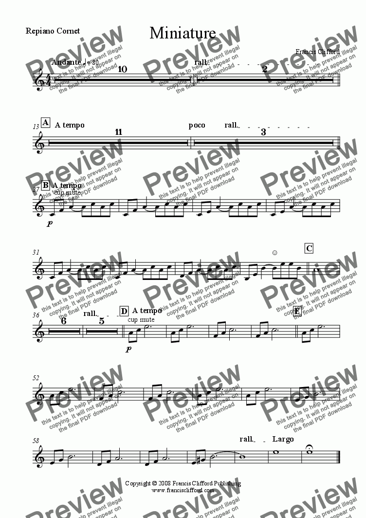 page one of the Repiano Cornet part from Miniature (Brass Band Version)