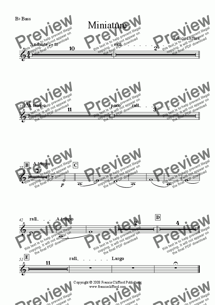 page one of the Bb Basses part from Miniature (Brass Band Version)