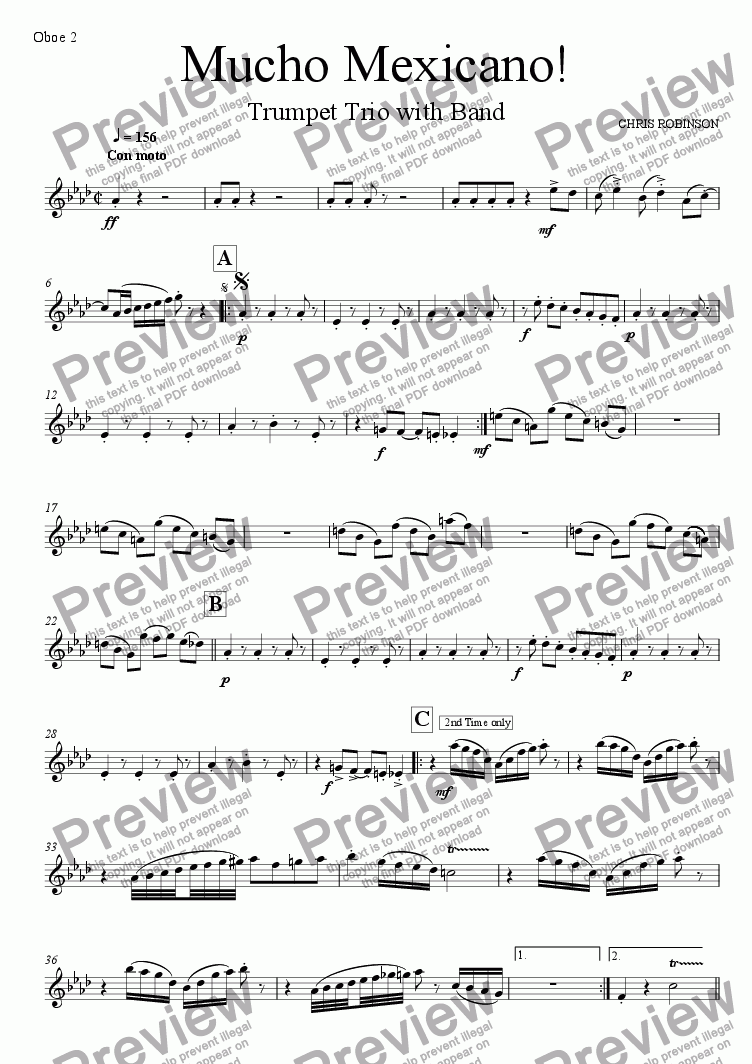 page one of the Oboe 2 part from Mucho Mexicano! - Trumpet Trio with Wind Band - Full Score