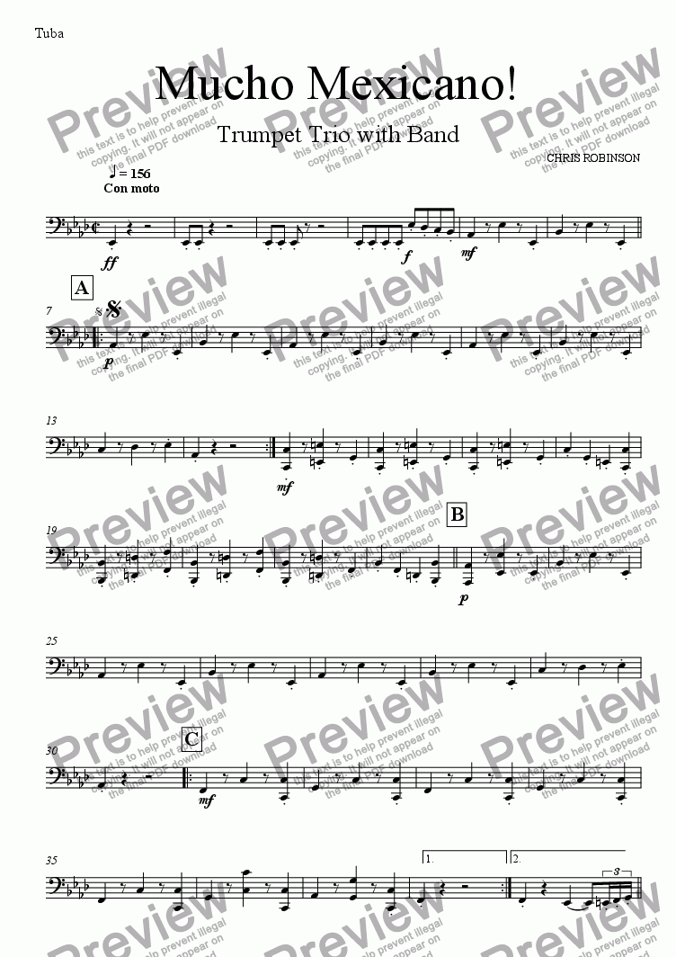 page one of the Tuba part from Mucho Mexicano! - Trumpet Trio with Wind Band - Full Score
