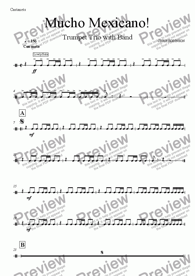 page one of the Perc 2 - castanets part from Mucho Mexicano! - Trumpet Trio with Wind Band - Full Score