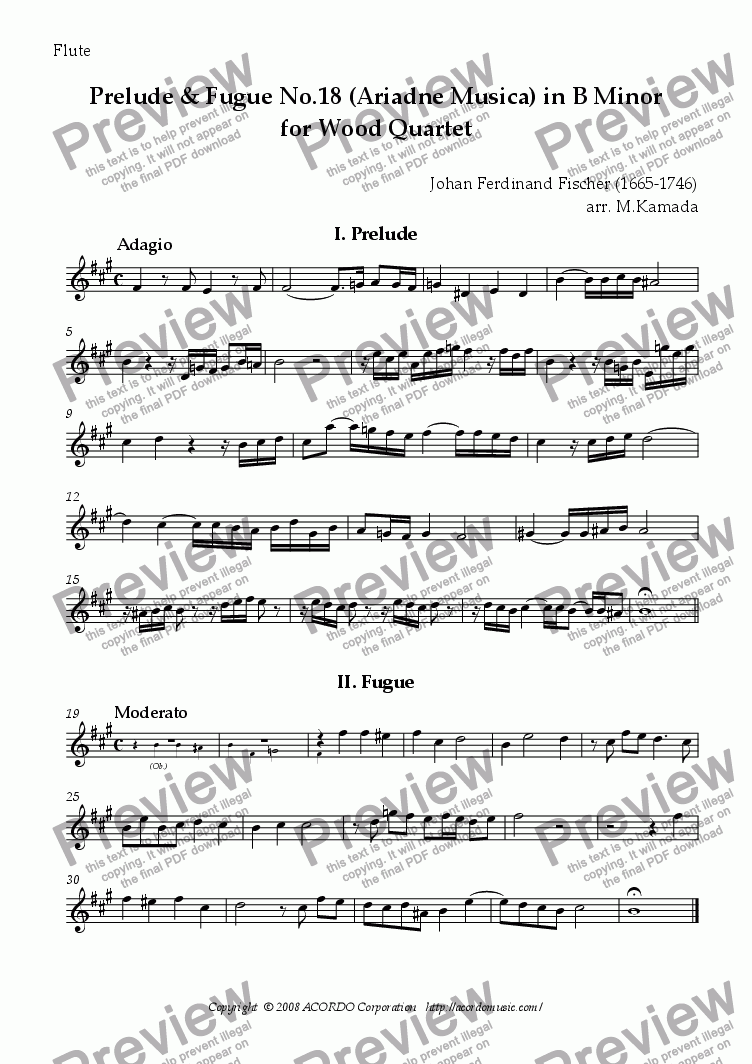 page one of the Flute part from Prelude & Fugue No.18 (Ariadne Musica) in B minor for Wood Quartet