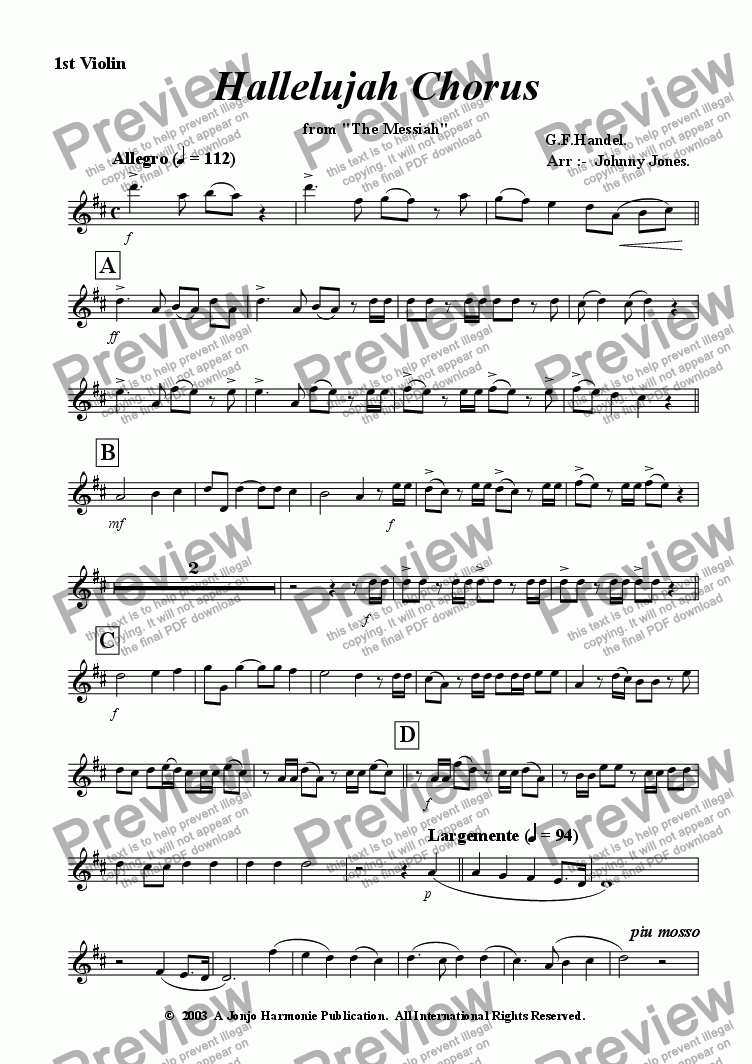 "page one of the 1st Violin part from Hallelujah Chorus  from  ""Messiah"""