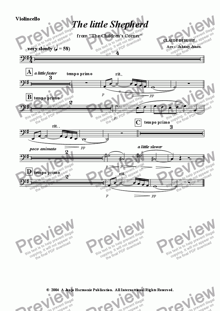 page one of the Violincello part from Little Shepherd The   (String Quartet)