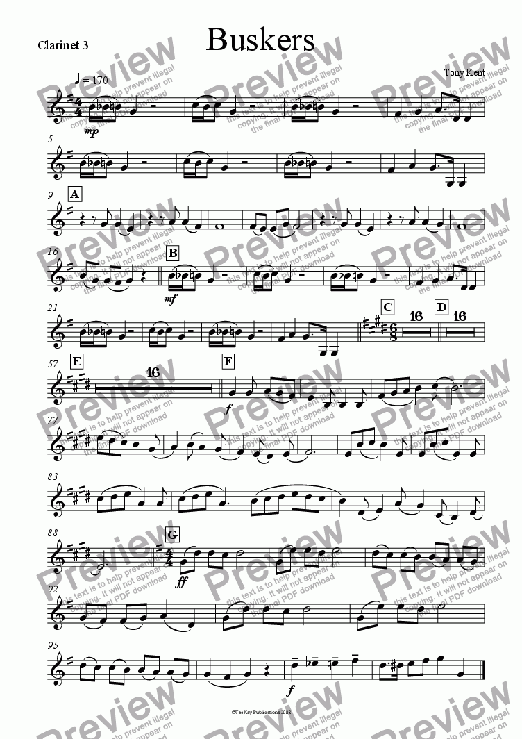 page one of the Clarinet 3 part from Buskers