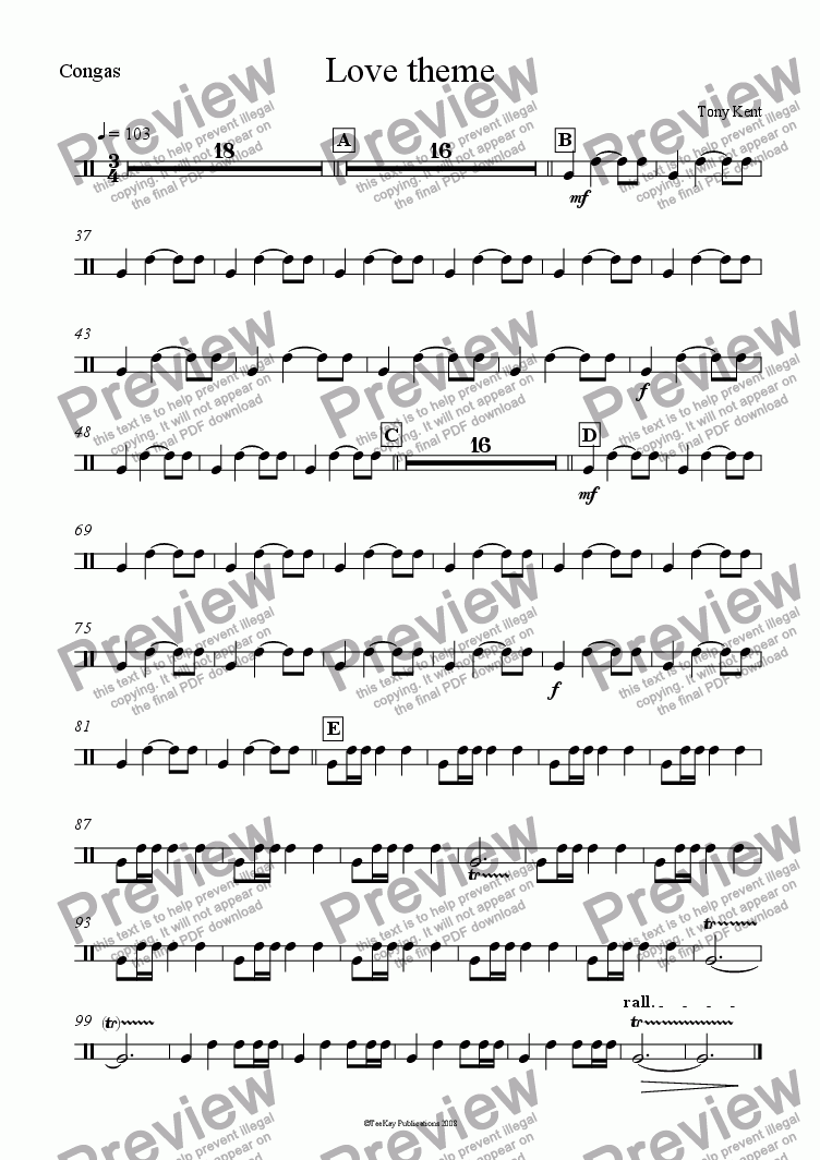 page one of the Congas part from Love theme