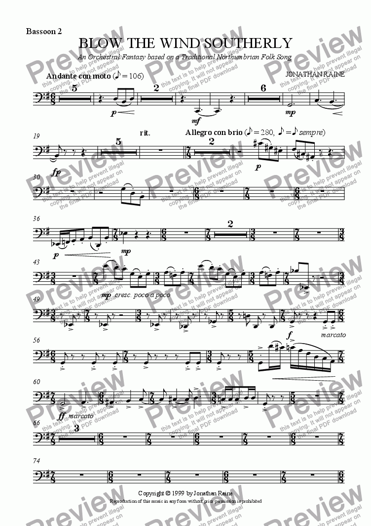 page one of the Bassoon 2 part from Blow the Wind Southerly