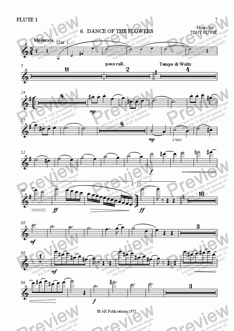 page one of the Flute 1 part from Ballet: Alice in Wonderland (Act 1 - No. 06) Flower Dance