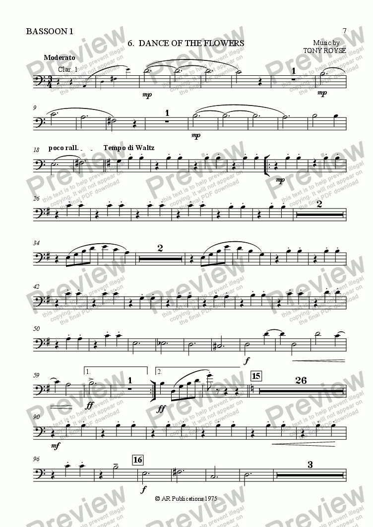 page one of the Bassoon 1 part from Ballet: Alice in Wonderland (Act 1 - No. 06) Flower Dance