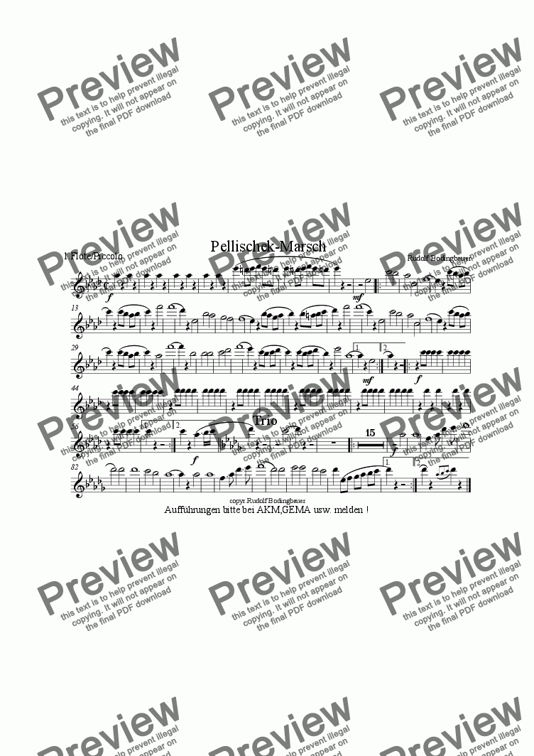 page one of the Fl�te/Piccolo part from Pellischek - Marsch Blasorchester