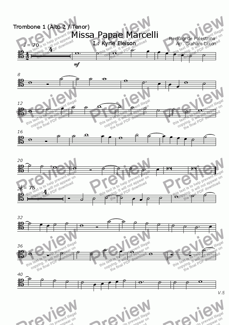 page one of the Trombone 1 (alto 2) part from Missa Papea Marcelli
