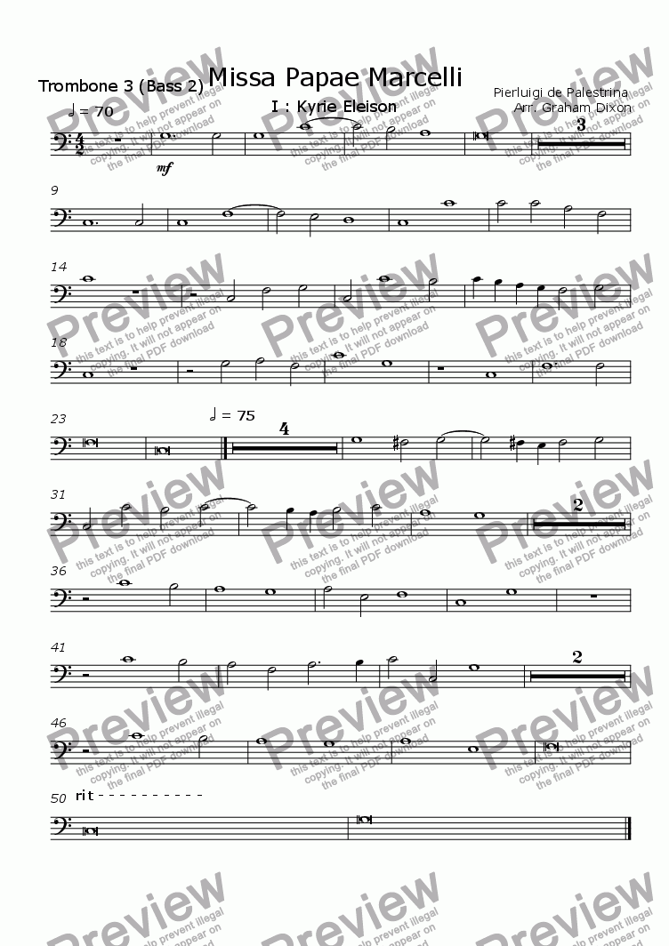 page one of the Trombone 3 (bass 2) part from Missa Papea Marcelli