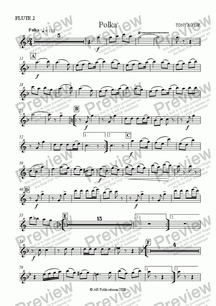page one of the Flute 2 part from Polka for School Orchestra