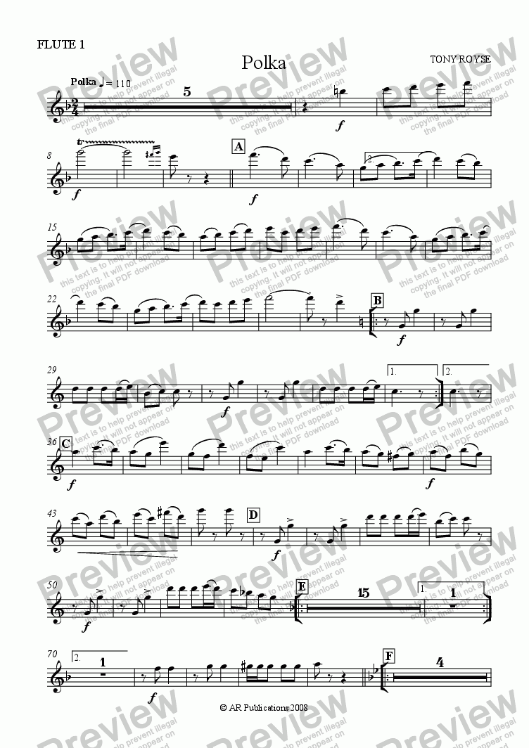 page one of the Flute 1 part from Polka for School Orchestra